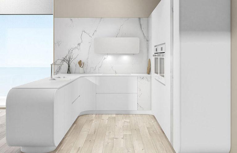 Muebles de cocina modernos lacados blancos