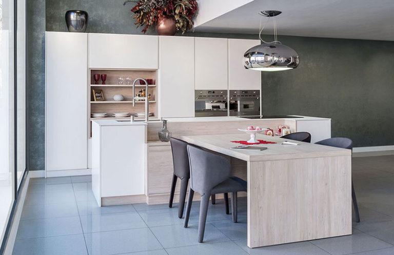Detalle cocina moderna madera y metal alicante